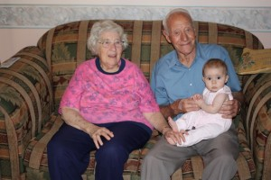 Ella with her Great-Grandparents